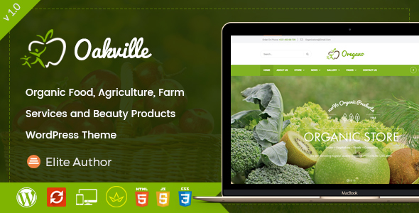 Image of Oakville - Organic Food, Agriculture, Farm Services and Beauty Products WP Theme