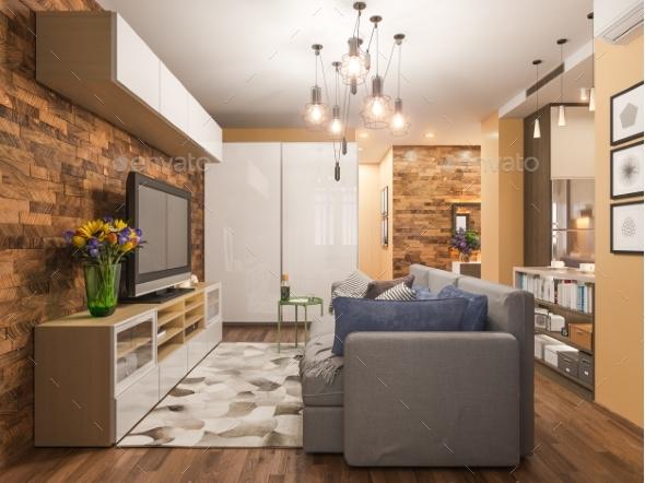 3d Illustration Living Room Interior Design - 3D Renders Graphics