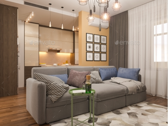 3D Illustration Living Room Interior Design - 3D Renders Graphics