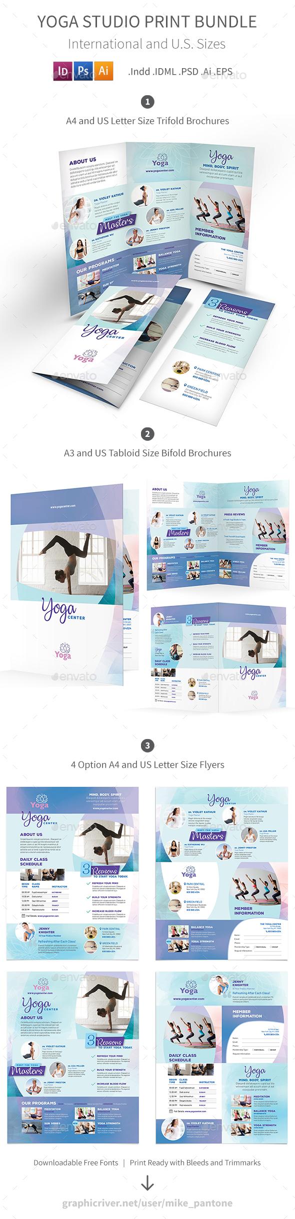Yoga Studio Print Bundle 3 - Informational Brochures