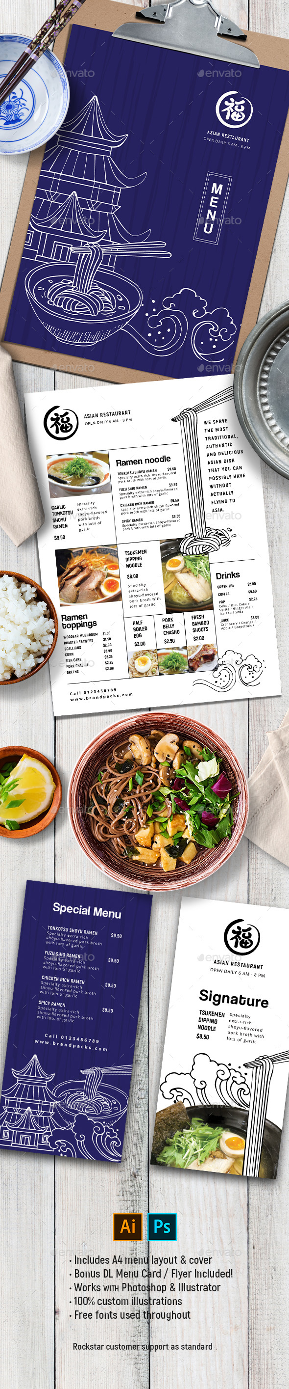 Asian Menu Template - Food Menus Print Templates