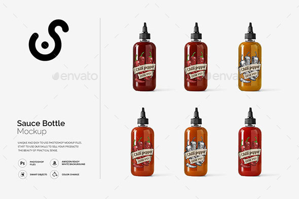Sauce Bottle Mockup Template - Product Mock-Ups Graphics