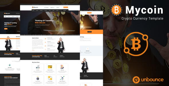 Image of MyCoin - Bitcoin Crypto Currency Unbounce Template