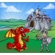 Castle Dragon and Knight Cartoon