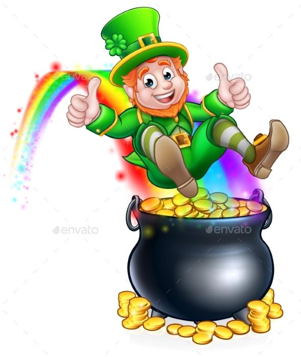 st patricks day leprechaun pot of gold rainbow by krisdog graphicriver