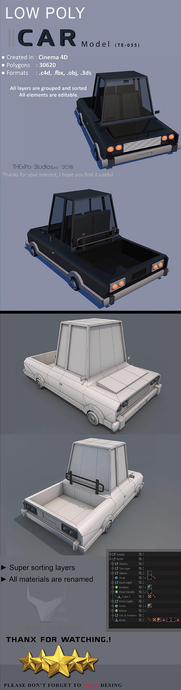 Low Poly Car || Model TE-055 - 3DOcean Item for Sale