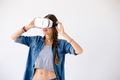 Beautiful woman using VR glasses - PhotoDune Item for Sale