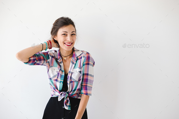 Happy cheerful young woman have positive news - Stock Photo - Images