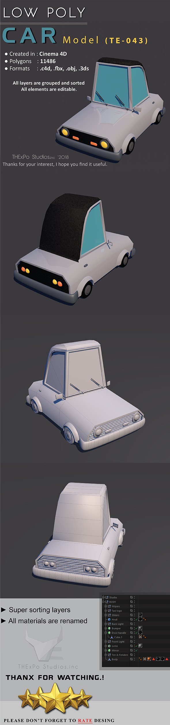 Low Poly Car || Model TE-043 - 3DOcean Item for Sale