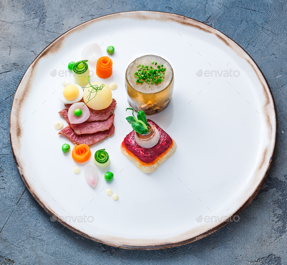 Salad Herring under a fur coat and aspic with horseradish and vodka - Stock Photo - Images