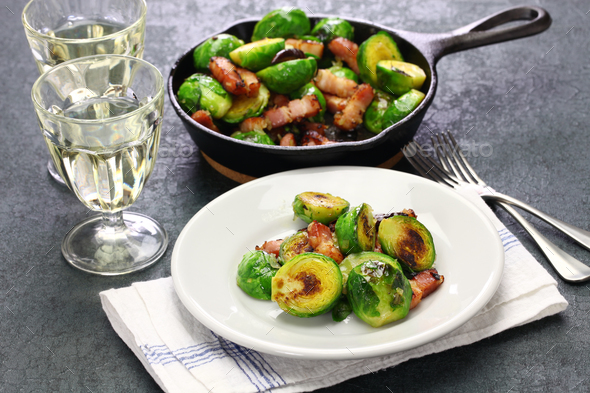roasted brussels sprouts with bacon - Stock Photo - Images