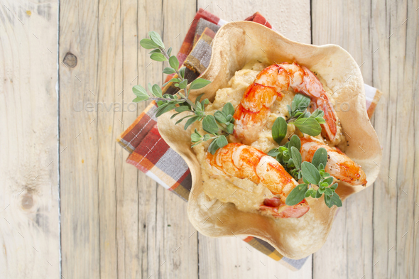 Chickpea and shrimp cream - Stock Photo - Images
