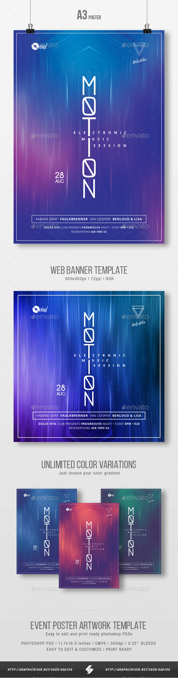 Motion - Minimal Party Flyer / Poster Template A3 - Clubs & Parties Events