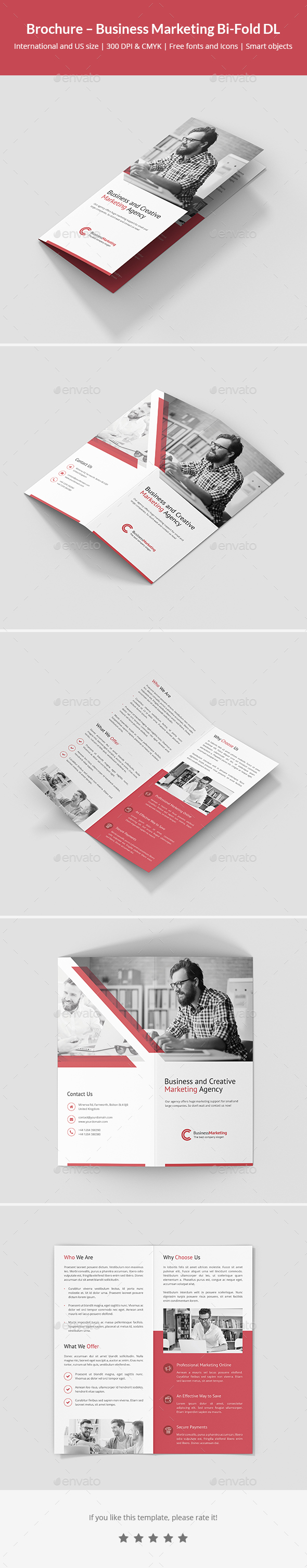Brochure – Business Marketing Bi-Fold DL - Corporate Brochures