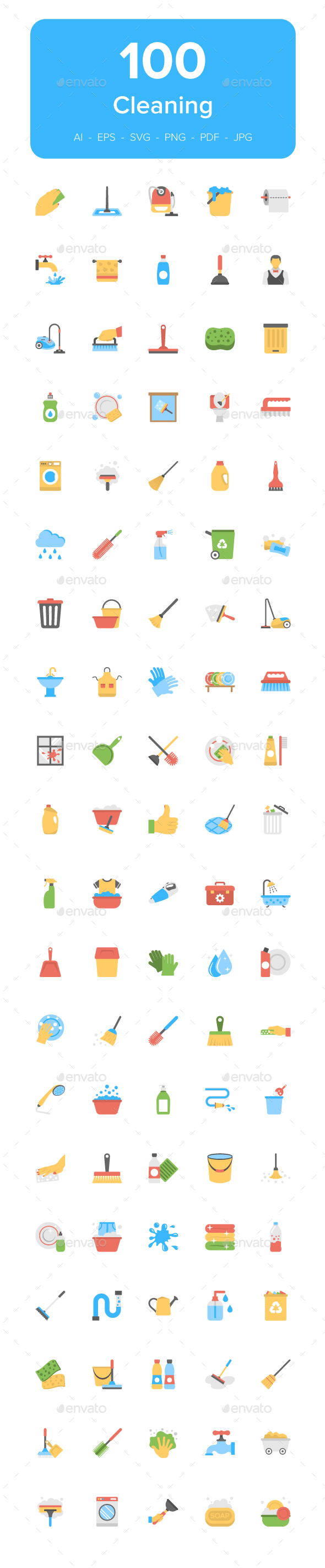 Cleaning Equipment and Accessories - Icons