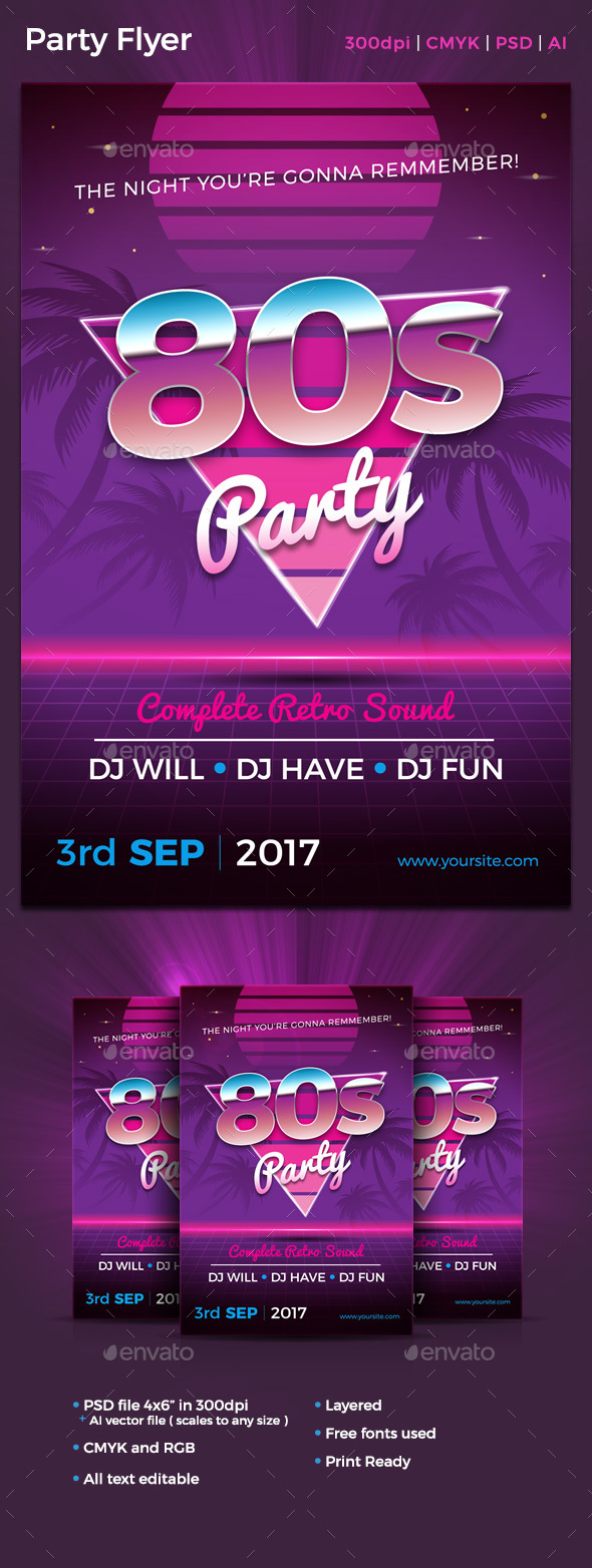 80s Flyer Template - Clubs & Parties Events