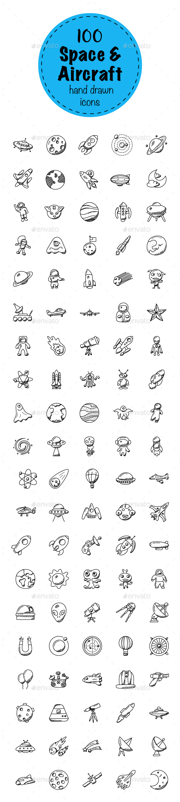 100 Space And Aircrafts Doodle Icons - Icons