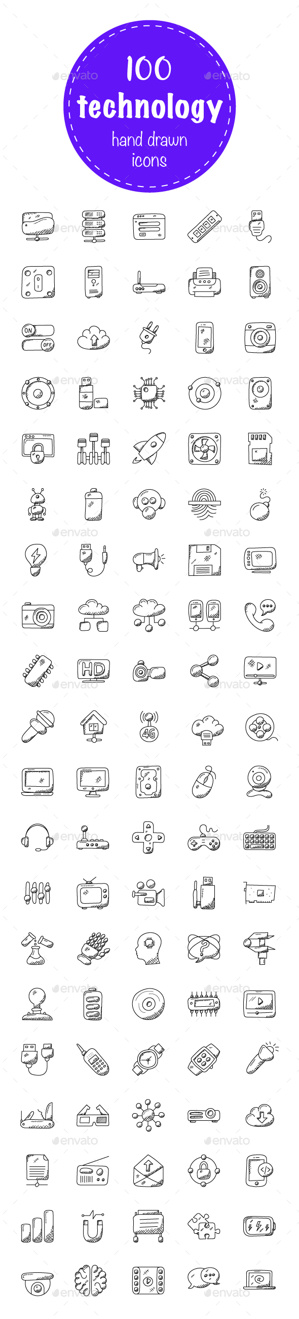 100 Technology Doodle Icons - Icons