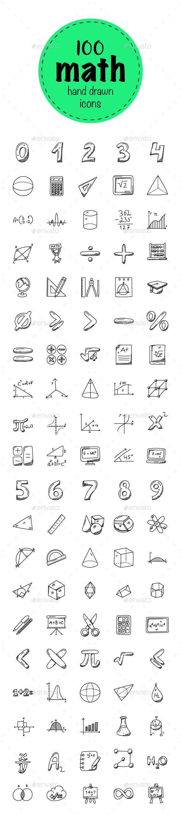 100 Mathematics Doodle Icons - Icons