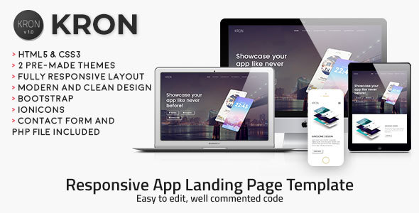 Kron | Responsive HTML/CSS App Landing Page Template - Apps Technology