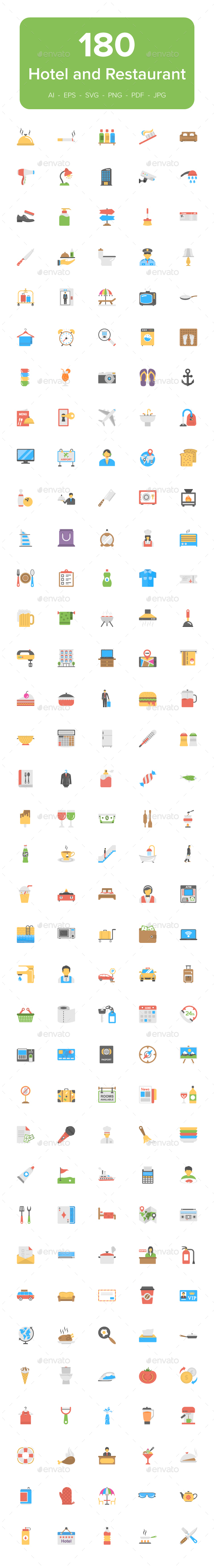 180 Hotel and Restaurant Flat Icons - Icons