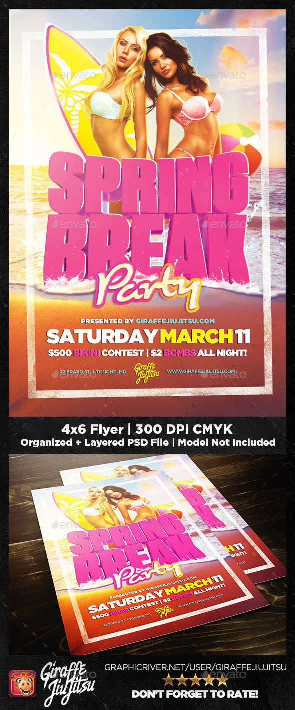 Spring Break 2018 Flyer Template - Clubs & Parties Events