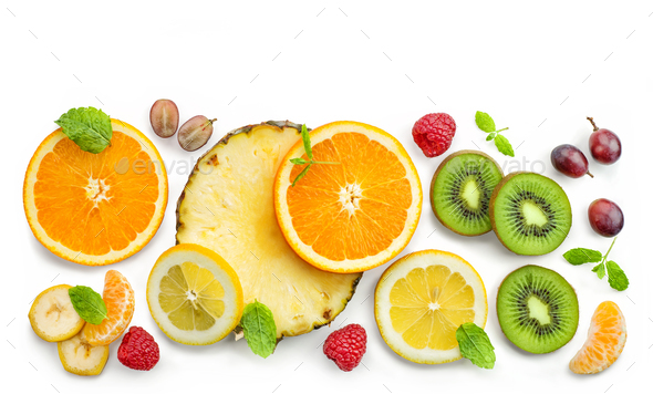 various fresh fruit slices - Stock Photo - Images
