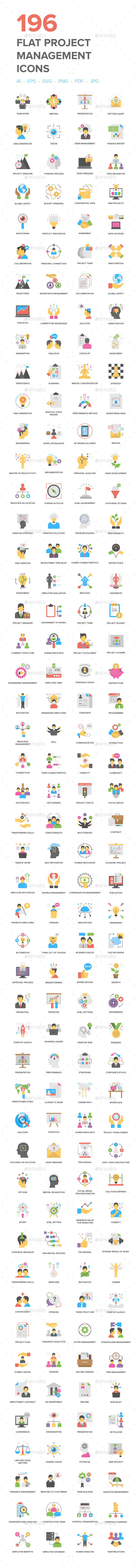 Flat Project Management Icons - Icons