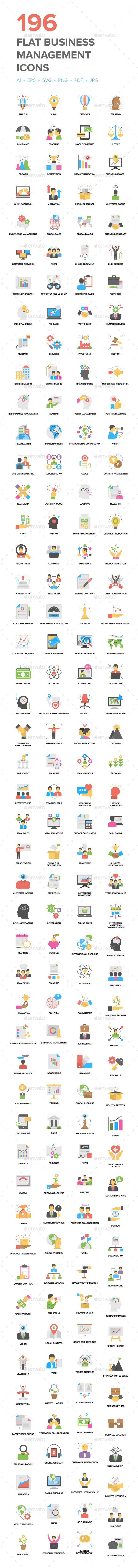Flat Business Management Icons - Icons