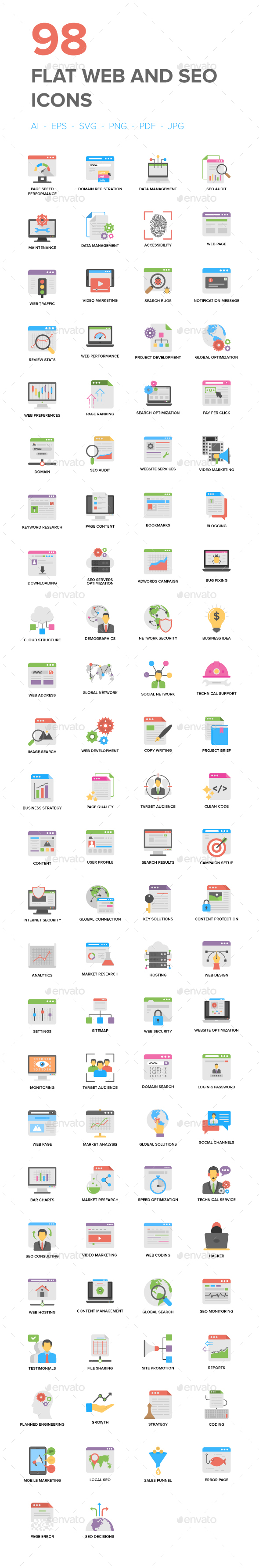 Flat Web And Seo Icons - Icons