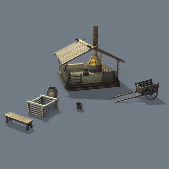 Medieval blacksmith 3d model - 3DOcean Item for Sale