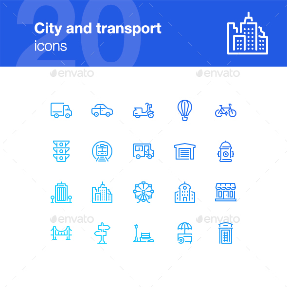 20 City life and transport icons - Buildings Objects