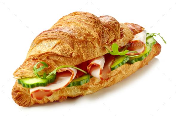 croissant sandwich with ham - Stock Photo - Images