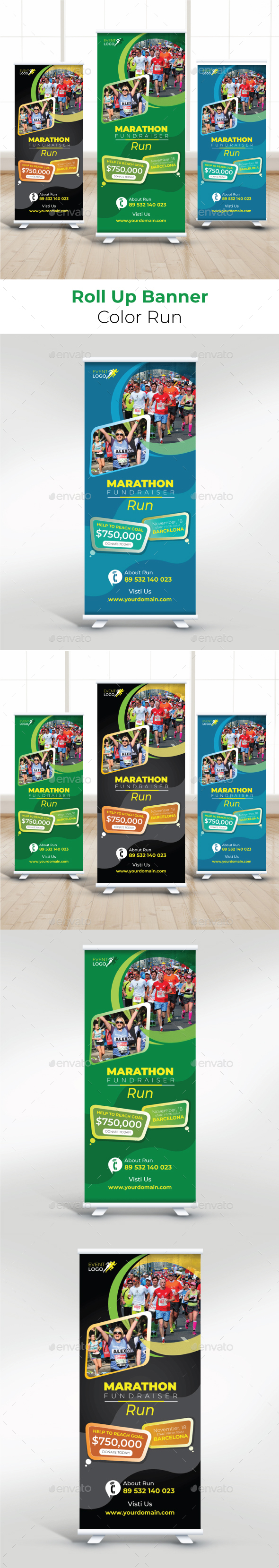 Color Run Roll Up Banner - Signage Print Templates