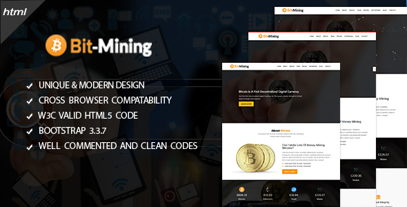 bitminig - cryptocurrency responsive landing page (marketing) BitMinig – CryptoCurrency Responsive Landing Page (Marketing) featur 20image