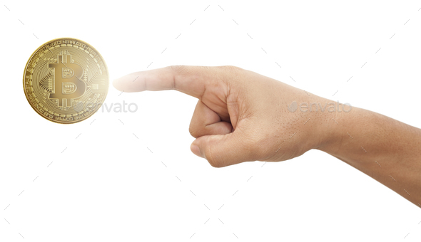 Hand touching bitcoin - Stock Photo - Images