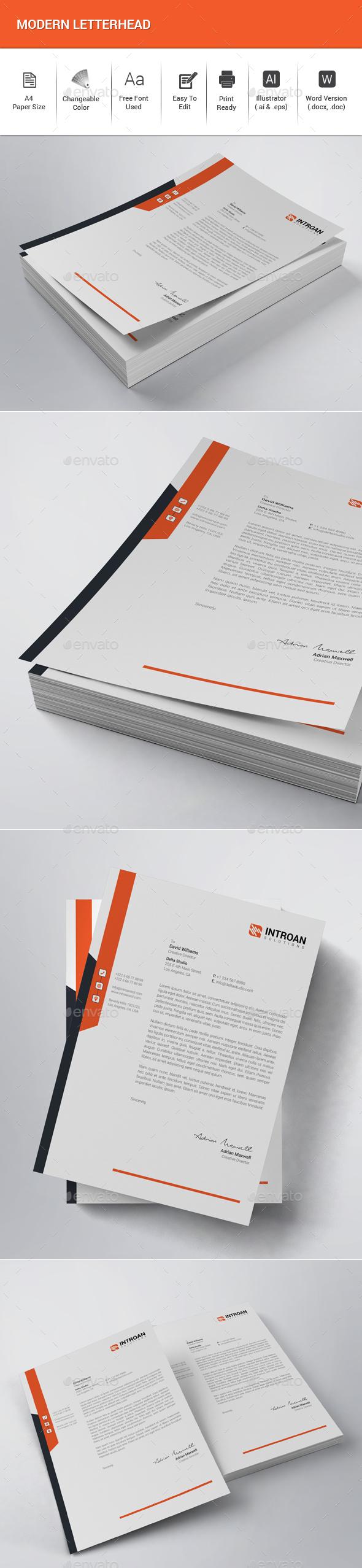 Modern Letterhead - Stationery Print Templates