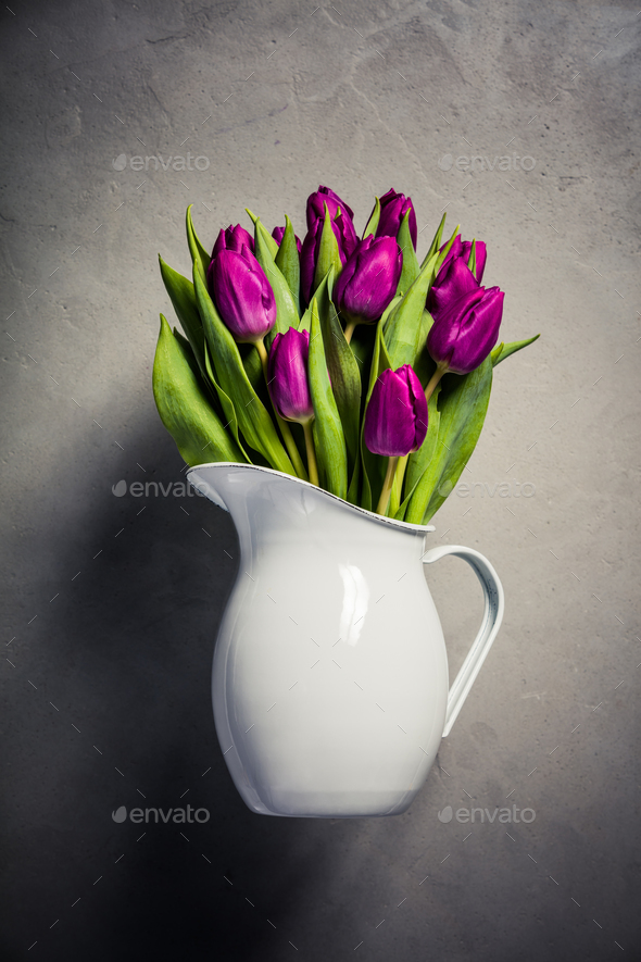Levitating purple tulips - Stock Photo - Images