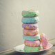 A stack of donuts on wooden table - PhotoDune Item for Sale