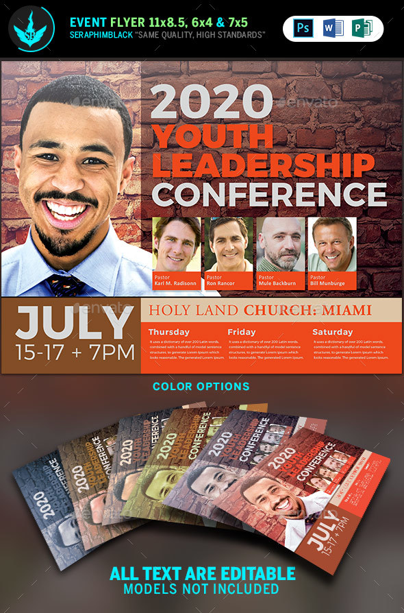 Youth Leadership Conference Flyer Template - Church Flyers