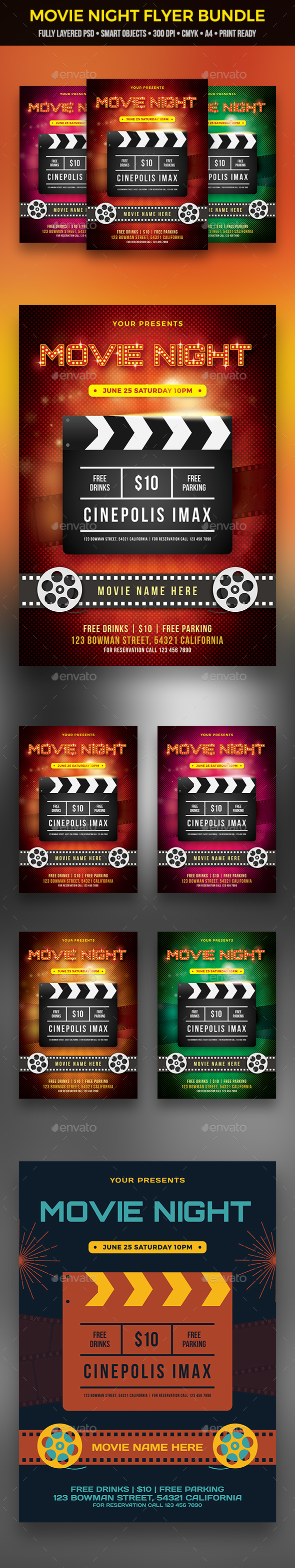 Movie Night Flyer Bundle - Clubs & Parties Events