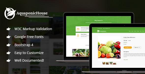 Aquaponic House Bootstrap Template - Retail Site Templates