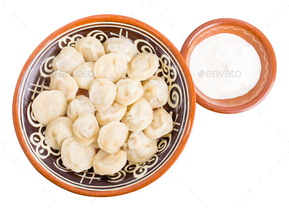Russian dumplings pelmeni with minced beef meat. - Stock Photo - Images