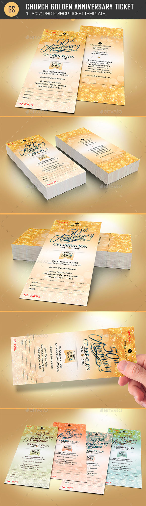 Church Golden Anniversary Ticket Template - Miscellaneous Print Templates