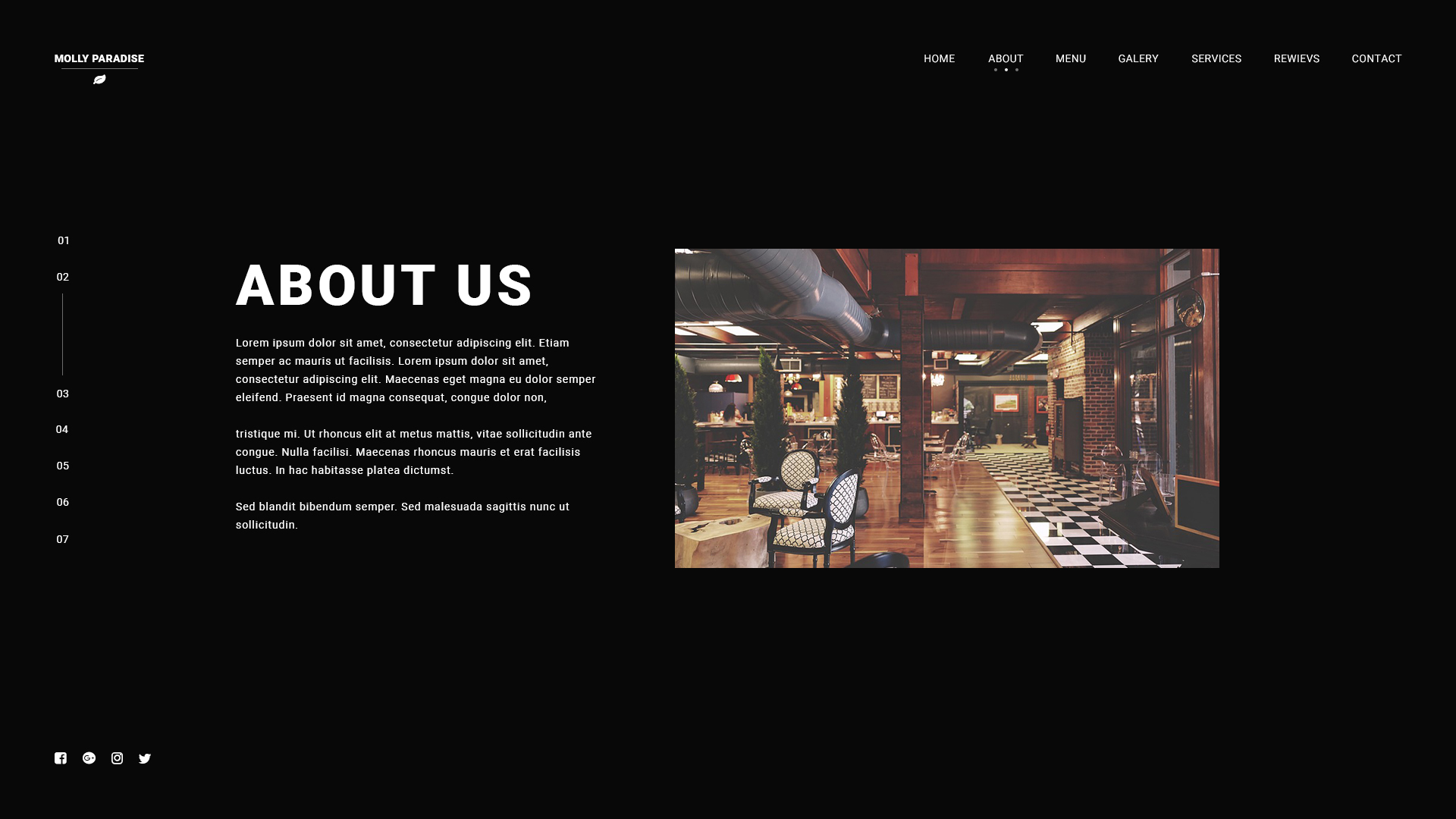 luxury simple restaurant parallax full screen one page responsive html5css3 template design
