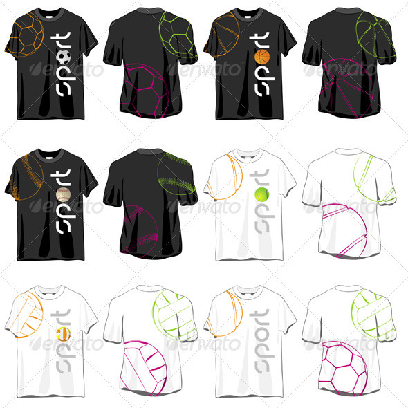 Sport T-shirts Designs Set - Man-made Objects Objects