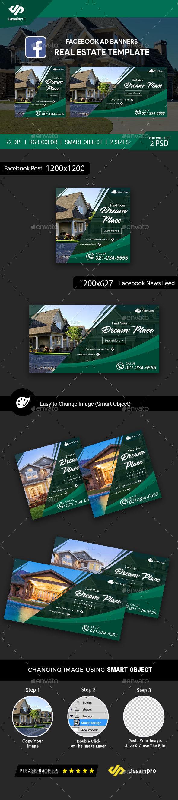 Real Estate FB Ad Banners - AR - Social Media Web Elements