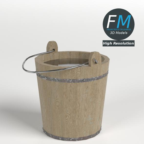 Wooden Bucket - 3DOcean Item for Sale