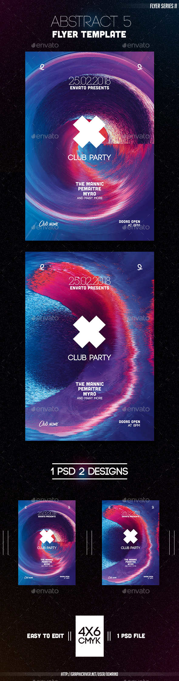 Abstract 5 Flyer Template - Clubs & Parties Events
