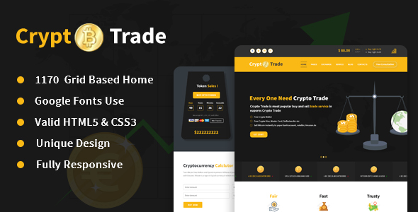 Crypto Trade - Online Crypto Currency Trading Responsive HTML5 Template